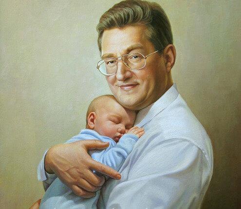 """картина """"дедушка и внук"""""""