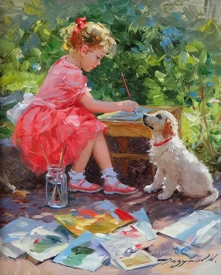 картина девочка с собакой